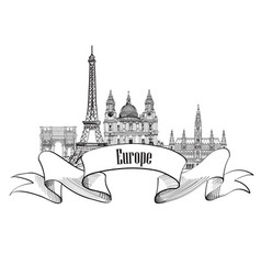 travel europe label famous landmark buildings vector image vector image