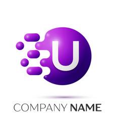 U letter splash logo purple dots circle bubble vector