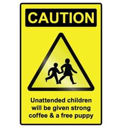 Unattended children hazard sign vector
