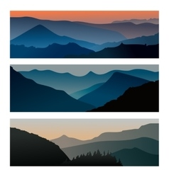 Mountains sunrise and mountains sunset horizontal vector image