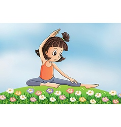 Cartoon yoga girl vector