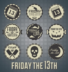 Friday the 13th labels and icons vector