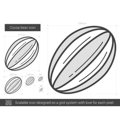 Cocoa bean line icon vector