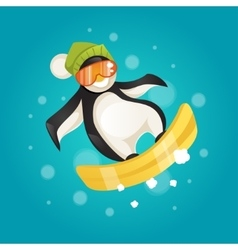 Penguin on snowboard vector
