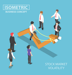 Isometric businessman riding skittish stock vector