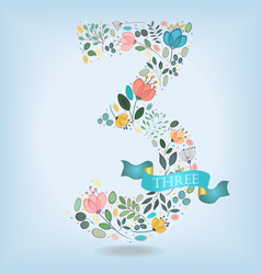 Floral number three with blue ribbon vector
