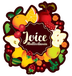 banner multivitamin juice with various fruits vector image