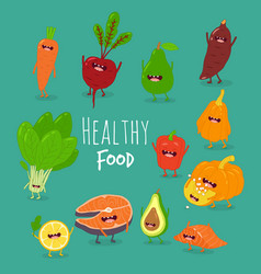 funny cartoon vegetable healthy food vector image