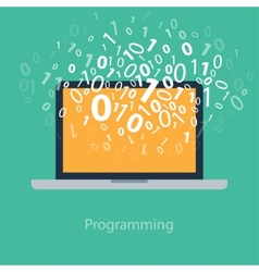 User programming coding binary code on notebook vector