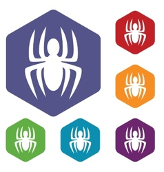 Spider rhombus icons vector