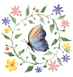 Wreath and butterfly vector