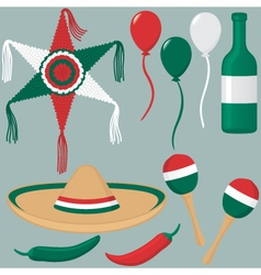 Cinco de mayo collection in mexican flag colors vector