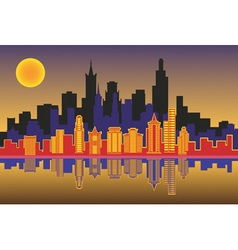 silhouette of the city at night vector image