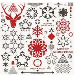 Christmas new year vintage vector