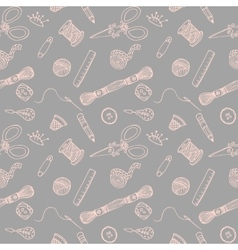 Sewing hand drawn pattern vector