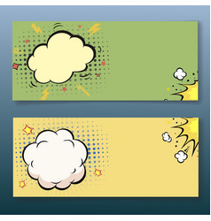 Comic book style explosion cloud banner set vector