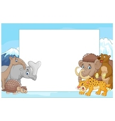 Collection of ice age animals with blank sign vector