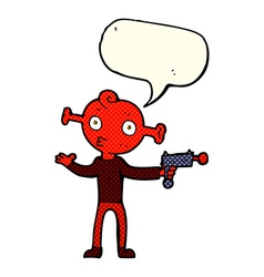 Cartoon alien with ray gun with speech bubble vector