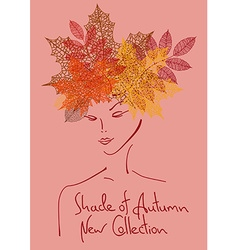 Autumn background with outline portrait of girl vector