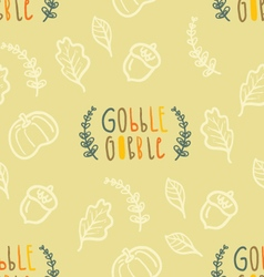 Autumn seamless pattern with hand lettering vector