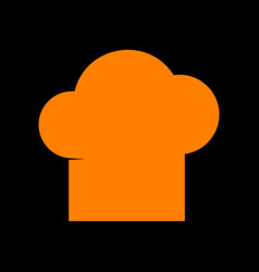 chef cap sign orange icon on black background vector image vector image