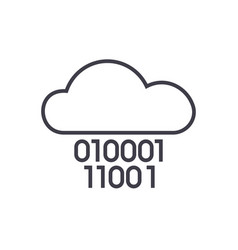cloud servicedigits zero onebinary code vector image