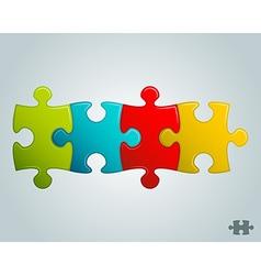 Colorful puzzle pieces horizontal line vector