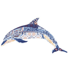 Dolphin decorated with ornament vector