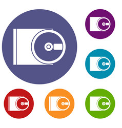 dvd drive open icons set vector image vector image