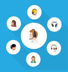 flat call set of earphone operator secretary and vector image vector image