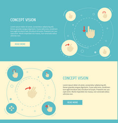 Flat icons slide touch nudge and other vector