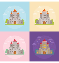 Flat medieval castles set with clouds trees vector