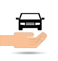 Hand holding car vehicle design vector