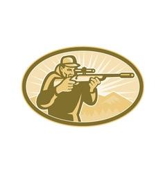 Hunter Aiming Rifle Oval Retro vector image vector image