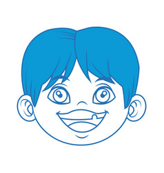 Little boy face cartoon kid male vector