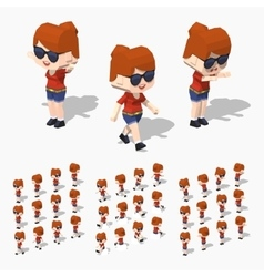 Low poly redhead girl vector