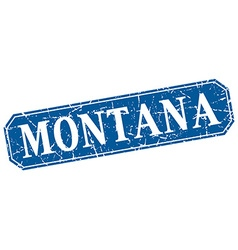 Montana blue square grunge retro style sign vector