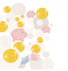 Pattern with piggy bank and money vector image