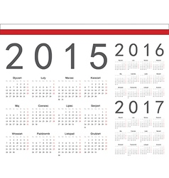 Polish square calendars 2015 2016 2017 vector image vector image