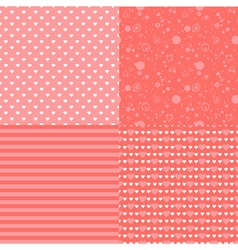 Set of seamless romantic pattern with hearts vector image vector image