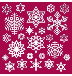 Set of white christmas snowflakes icons on wine vector