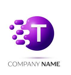 T letter splash logo purple dots circle bubble vector