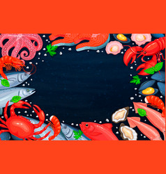 The seafood assortment vector