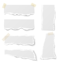 Torn note paper with adhesive tape set vector image vector image