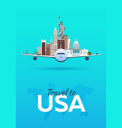 Travel to usa airplane with attractions travel vector