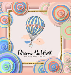 Vintage motivational postcard with balloon vector