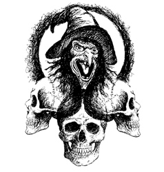 witch and skull vector image vector image