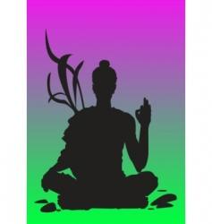 yoga sunset meditation vector image