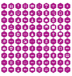 100 engineering icons hexagon violet vector