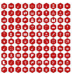 100 tools icons hexagon red vector